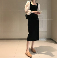 Dress Winter 2020 black M, L longuette singleton  Long sleeves commute square neck High waist Solid color Socket A-line skirt routine Others 18-24 years old Type H 2750# 81% (inclusive) - 90% (inclusive) other polyester fiber