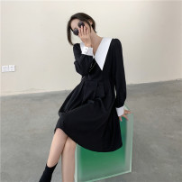 Dress Spring 2021 Black, orange M, L Middle-skirt singleton  Long sleeves commute V-neck High waist Solid color Socket A-line skirt puff sleeve Others 18-24 years old Type A Korean version 30053# 31% (inclusive) - 50% (inclusive) other polyester fiber