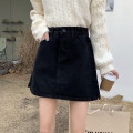 skirt Spring 2021 S,M,L,XL Black, white Short skirt commute High waist A-line skirt Solid color Type A 18-24 years old 71% (inclusive) - 80% (inclusive) Denim cotton pocket