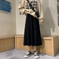 skirt Autumn 2020 Average size Apricot, black, coffee Mid length dress commute High waist A-line skirt Solid color Type A 18-24 years old 31% (inclusive) - 50% (inclusive) other Korean version