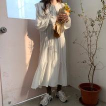 Dress Summer 2021 White, blue Average size longuette singleton  Long sleeves commute Loose waist Solid color A-line skirt Petal sleeve Others 18-24 years old Type A Korean version 9388# More than 95% cotton