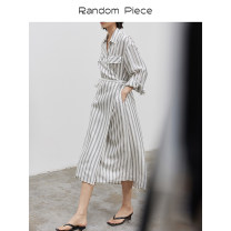 Dress Summer 2021 Gray stripes will be delivered around May 8 S,M,L Long sleeves Single breasted routine RandomPiece MS04PD04 51% (inclusive) - 70% (inclusive) other cotton