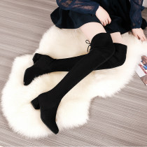 Boots 33 34 35 36 37 38 39 40 Black high heel grey high heel grey black Elastic cloth Lianmei Middle heel (3-5cm) Thick heel Cashmere (cashmere) long and tube-shaped Round head Artificial short plush Artificial short plush Autumn of 2018 Sleeve Korean version rubber Solid color Martin boots winter