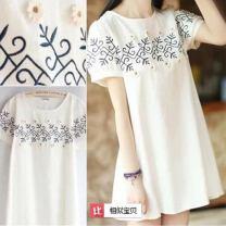 Dress Summer of 2018 white S,M,L,XL,XXL,XXXL Mid length dress singleton  Short sleeve Crew neck middle-waisted Socket Yongxing 047