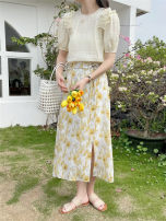 skirt Summer 2020 S,M,L,XL Yellow, pink, blue Short skirt commute High waist skirt Big flower Type H 18-24 years old 51% (inclusive) - 70% (inclusive) Wool nylon Nail bead, embroidery Korean version
