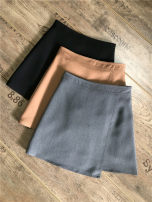 skirt Spring 2020 S,M,L,XL Grey, black, pink Short skirt commute High waist Irregular Solid color Type A 51% (inclusive) - 70% (inclusive) brocade Lycra Lycra Korean version