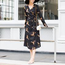 Dress Spring 2021 black XS,S,M,L,XL longuette singleton  Long sleeves commute V-neck High waist Decor other Big swing shirt sleeve Others Type X Britain