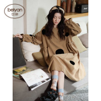Nightdress Beiyan S4575 color s4588 color 160(M) 165(L) 170(XL) Sweet Long sleeves Leisure home Middle-skirt spring Dot youth Crew neck cotton printing More than 95% pure cotton S4575 Spring 2021 Cotton 100% Pure e-commerce (online only)