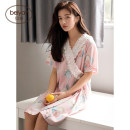 Nightdress Beiyan S4532 picture color Beiyan genuine collection and purchase 160(M) 165(L) 170(XL) Sweet Short sleeve Leisure home Middle-skirt summer Cartoon animation youth V-neck viscose  lace 41% (inclusive) - 60% (inclusive) Woven cotton fabric S4532 Summer 2020 Viscose (viscose) 60% cotton 40%