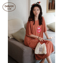 Nightdress Beiyan S4571 color 160(M) 165(L) 170(XL) Simplicity Short sleeve Leisure home longuette summer letter youth Crew neck modal  printing 81% (inclusive) - 95% (inclusive) Modal fabric S4571 Summer 2021 93% polyurethane elastic fiber (spandex) 7% of modal fiber