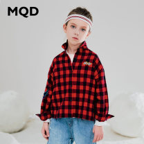 T-shirt red-checkered pattern MQD 110cm 120cm 130cm 140cm 150cm 160cm female Long sleeves Korean version nothing cotton Cotton 100% G19330106 Class B Autumn of 2019 3 years old, 4 years old, 5 years old, 6 years old, 7 years old, 8 years old, 9 years old, 10 years old, 11 years old, 12 years old