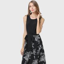 Dress Summer 2020 black S,M,L,XL,2XL,3XL,4XL Mid length dress singleton  Sleeveless street Crew neck zipper Irregular skirt camisole Type X Thousands of clothes Europe and America