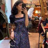 Dress Summer 2020 Broken flower purple long style S,M,L Mid length dress singleton  Short sleeve commute square neck High waist Broken flowers zipper A-line skirt Princess sleeve Others 18-24 years old Type A Retro Stickers, waves, zippers, prints 81% (inclusive) - 90% (inclusive) other