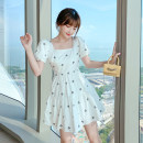 Dress Summer 2021 white XS,S,M,L,XL Short skirt singleton  Short sleeve commute One word collar High waist Decor Socket A-line skirt puff sleeve Others 18-24 years old Type A Korean version pocket 71% (inclusive) - 80% (inclusive) other cotton