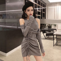 Dress Spring of 2019 Gray, black S,M,L Short skirt Fake two pieces middle-waisted Solid color Socket Pencil skirt 18-24 years old Other / other 31% (inclusive) - 50% (inclusive) other cotton