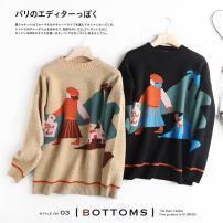 Wool knitwear Autumn 2020 M, L Black, Khaki Long sleeves singleton  Socket Viscose 71% (inclusive) - 80% (inclusive) Regular routine Sweet easy Half height crew neck routine Animal design Socket college