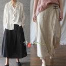 skirt Summer 2020 Average size longuette commute Irregular 31% (inclusive) - 50% (inclusive) hemp Color contrast Retro