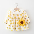 Dress Cream white, yellow long sleeves, yellow short sleeves female Other / other 80cm suggests 0-1 years old, 90cm suggests 1-2 years old, 100cm suggests 2-3 years old, 110cm suggests 3-4 years old Other 100% summer princess Long sleeves Embroidery cotton Splicing style F643