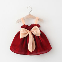 Dress female Other / other Other 100% summer Skirt / vest Solid color cotton Cake skirt F856 3 months, 12 months, 6 months, 9 months, 18 months, 2 years old, 3 years old, 4 years old 80cm suggests 0-1 years old, 90cm suggests 1-2 years old, 100cm suggests 2-3 years old, 110cm suggests 3-4 years old