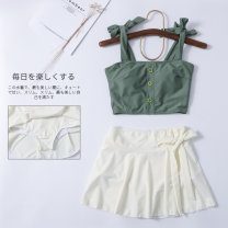 Split swimsuit Miss sweet swimsuit green M,L,XL Skirt split swimsuit With chest pad without steel support Nylon, others female