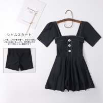 one piece  Miss sweet swimsuit XXL,XL,L,M black Skirt one piece With chest pad without steel support Spandex, nylon female Short sleeve Casual swimsuit Solid color
