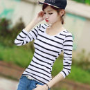 T-shirt White, black, black and white, red, blue and white S,M,L,XL,2XL Spring 2021 Long sleeves Crew neck Self cultivation Regular routine commute cotton 86% (inclusive) -95% (inclusive) Korean version youth Thin horizontal stripe Silent Proverbs stripe