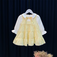 Dress yellow female Other / other 80cm,90cm,100cm,110cm,120cm Cotton 95% other 5% spring Korean version Long sleeves other Cotton blended fabric Splicing style 12 months, 6 months, 9 months, 18 months, 2 years, 3 years, 4 years Chinese Mainland