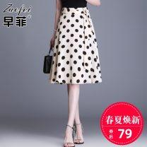 skirt Summer 2021 M L XL 2XL 3XL 4XL Black and white longuette commute High waist A-line skirt Dot jyx6632 Chiffon Zaofei printing Korean version