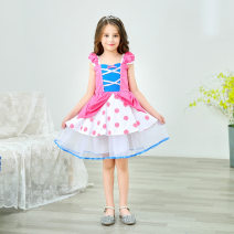 Dress D95 female Other / other 90cm,100cm,110cm,120cm,130cm Other 100% summer Europe and America Short sleeve Dot 2 years old, 3 years old, 4 years old, 5 years old, 6 years old, 7 years old, 8 years old