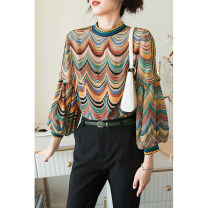 shirt Green, purple S,M,L,XL Spring 2021 silk 96% and above Long sleeves street Regular stand collar Socket routine Straight cylinder Rifan Valley 20SXER_ one thousand six hundred and eighty-six printing Europe and America silk