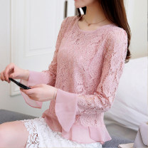 Lace / Chiffon Summer of 2019 S,M,L,XL,2XL Long sleeves commute Socket singleton  Self cultivation Regular Crew neck Solid color pagoda sleeve Other / other Ruffles, stitches, lace Korean version 31% (inclusive) - 50% (inclusive)