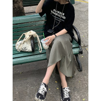 skirt Summer 2021 S,M,L Off white, greyish green, off white (8-10 days in advance), greyish green (8-10 days in advance) Mid length dress commute High waist A-line skirt Solid color Type A 18-24 years old 2020.04.13 More than 95% other JHXC Viscose Korean version