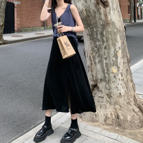 skirt Summer 2020 S,M,L Gray, black Mid length dress commute High waist A-line skirt Solid color Type A 18-24 years old 2020.06.30 More than 95% other JHXC cotton Frenulum Simplicity 201g / m ^ 2 (including) - 250G / m ^ 2 (including)