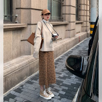 skirt Autumn 2020 S,M,L Black, Dark Brown Leopard Print Mid length dress commute High waist skirt other Type H 18-24 years old 2020.09.23 More than 95% other JHXC other Korean version 201g / m ^ 2 (including) - 250G / m ^ 2 (including)