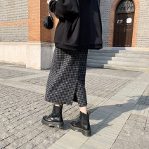 skirt Winter of 2019 S,M,L Black check, brown check Mid length dress commute High waist skirt lattice Type H 18-24 years old More than 95% other JHXC other zipper Korean version 201g / m ^ 2 (including) - 250G / m ^ 2 (including)