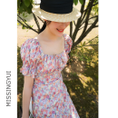 Dress Summer 2020 Orange pink short (in stock), orange pink long (2-7 days) XS,S,M,L Mid length dress Short sleeve square neck High waist Decor puff sleeve 18-24 years old Lace up, zipper, print