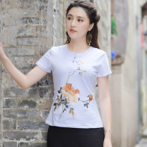 T-shirt White, black, red M,L,XL,2XL,3XL,4XL,5XL Summer of 2019 Short sleeve Crew neck Self cultivation Regular routine commute cotton 86% (inclusive) -95% (inclusive) 30-34 years old ethnic style Embroidery