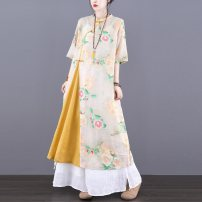 Dress Summer 2021 Green yellow (5 days in advance) M L longuette singleton  Short sleeve commute stand collar Loose waist Decor Socket A-line skirt routine Others 30-34 years old Type A Jian Tian ethnic style Pleated pocket stitched button print JT21A81133 More than 95% hemp Ramie 100%