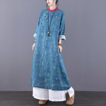 Dress Autumn 2020 Blue green M L Mid length dress singleton  Long sleeves commute stand collar Loose waist Decor Socket other routine Others 35-39 years old Jian Tian Retro Button print with pocket stitching JT20B80891 More than 95% other hemp Flax 100% Pure e-commerce (online only)