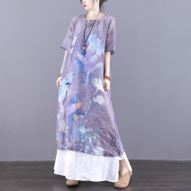 Dress Summer 2021 Green dark purple (5 days in advance) M L longuette singleton  elbow sleeve commute Crew neck Loose waist Decor Socket A-line skirt routine Others 30-34 years old Type H Jian Tian ethnic style Pocket stitching with floral button print inner hem JT21A81111 More than 95% hemp