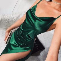 Dress Summer 2020 green S,M,L longuette street High waist Solid color zipper camisole 18-24 years old Europe and America