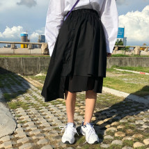 skirt Summer of 2018 Average size White black Middle-skirt commute High waist Irregular Solid color 18-24 years old