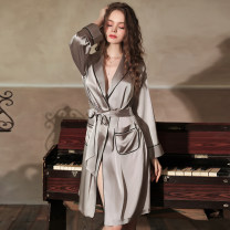 Nightdress Average size sexy Long sleeves Leisure home Middle-skirt autumn Solid color youth Small lapel Polyester (polyester) polyester fiber Autumn 2020 Polyester fiber 95.3% polyurethane elastic fiber (spandex) 4.7%