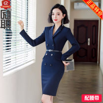 Professional dress suit S,M,L,XL,4XL,2XL,3XL Blue dress (without belt), blue dress (with belt) Autumn of 2019 Long sleeves Other styles Suit skirt 25-35 years old Encourage duty 91% (inclusive) - 95% (inclusive) polyester fiber