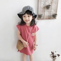 Dress Skin pink female Other / other 90cm,100cm,110cm,120cm,130cm Other 100% summer leisure time 2 years old, 3 years old, 4 years old, 5 years old, 6 years old, 7 years old