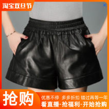 Casual pants black S,M,L,XL,2XL,3XL,4XL Winter 2020 shorts Wide leg pants High waist commute routine 25-29 years old 96% and above PU leather pocket Sheepskin Asymmetry