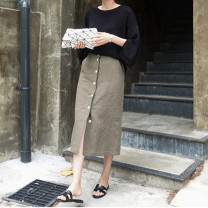 skirt Summer 2020 One size fits all (about 12 days of booking), one size fits all (in stock) Khaki, cream orchid Middle-skirt Retro Natural waist Solid color Type H 35-39 years old More than 95% other hemp