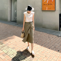 skirt Summer 2020 One size fits all (about 15 days of booking), one size fits all (ready for sale) Beige, Khaki Mid length dress grace low-waisted other Solid color Type H 35-39 years old More than 95% hemp