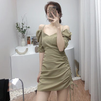 Dress Spring 2021 Black, green, purple M, L Short skirt singleton  Short sleeve commute High waist Solid color zipper A-line skirt routine 18-24 years old Type A Korean version 1134B-601 31% (inclusive) - 50% (inclusive)