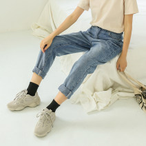 Women's large Autumn of 2018 Gray, blue Large XL, 2XL, 3XL, 4XL trousers singleton  commute Straight cylinder moderate Solid color Korean version Denim Other / other 18-24 years old 51% (inclusive) - 70% (inclusive) trousers